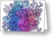 Blue Floral Indian Pattern Greeting Card