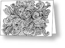 Black And White Floral Indian Pattern Greeting Card