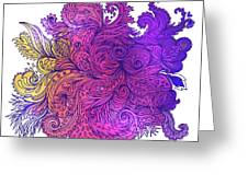 Purple Floral Indian Pattern Greeting Card