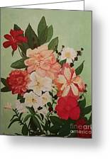 Floral On Green Greeting Card