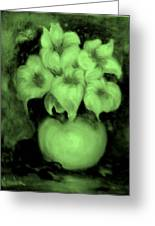 Floral Puffs In Green Greeting Card