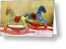 Floral Rocking Horses Greeting Card