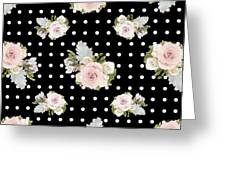 Floral Rose Cluster W Dot Bedding Home Decor Art Greeting Card