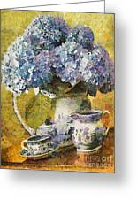 Floral Table Onset In Tiny Bubbles Greeting Card