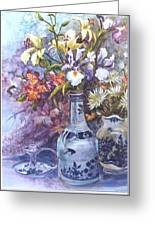 Floral With Delft Ware Greeting Card
