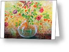 Floral With Eastern Tapestry Greeting Card