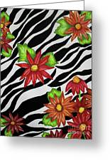 Floral Zebra Print Greeting Card