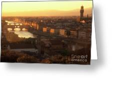 Florence And The Ponte Vecchio Dusk, Tuscany, Italy Greeting Card