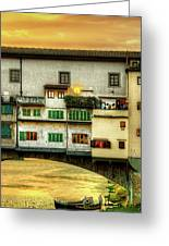 Florence - Boats Under The Ponte Vecchio Sunset - Untextured Greeting Card