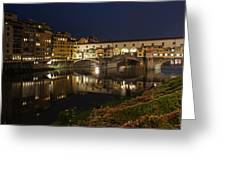 Florence Italy Night Magic - A Glamorous Evening At Ponte Vecchio Greeting Card