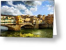 Florence -  Ponte Vecchio From The Northwestern Bank - Vintage Greeting Card