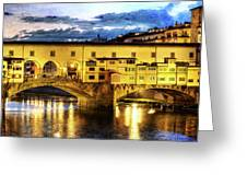 Florence - Ponte Vecchio Sunset From The Oltrarno - Vintage Version Greeting Card