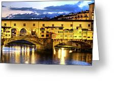 Florence - Ponte Vecchio Sunset From The Oltrarno Greeting Card