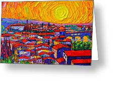 Florence Sunset 10 Modern Impressionist Abstract City Knife Oil Painting Ana Maria Edulescu Greeting Card