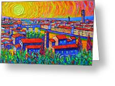 Florence Sunset 4 Modern Impressionist Abstract City Impasto Knife Oil Painting Ana Maria Edulescu Greeting Card