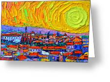 Florence Sunset 5 Modern Impressionist Abstract City Impasto Knife Oil Painting Ana Maria Edulescu Greeting Card
