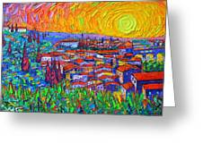 Florence Sunset 7 Modern Impressionist Abstract City Impasto Knife Oil Painting Ana Maria Edulescu Greeting Card