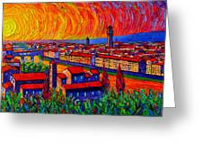 Florence Sunset 9 Modern Impressionist Abstract City Impasto Knife Oil Painting Ana Maria Edulescu Greeting Card