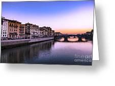 Florence Or Firenze, Ponte Santa Trinita Medieval Bridge Landmark On Arno River And A Boat, Sunset L Greeting Card