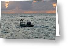 Florida Lobstermen At Dawn Greeting Card