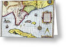 Florida: Map, 1591 Greeting Card