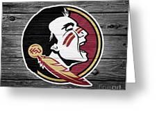Florida State University Seminoles Logo On Weathered Wood Greeting Card