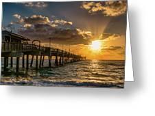 Florida Sunrise At Dania Beach Pier Greeting Card