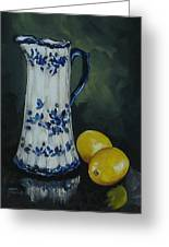 Flow Blue And Lemons  Greeting Card