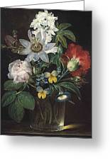 Flower And A Delphinium In A Glass Vase Greeting Card