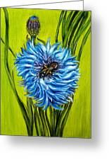 Flower And Bee Oil Painting Greeting Card by Natalja Picugina