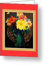 Bouquet For Mrs De Waldt H B With Decorative Ornate Printed Frame. Greeting Card