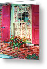 Flower Box  And Pink Shutters Greeting Card