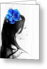 Flower Girl Blue Selective Colour Greeting Card