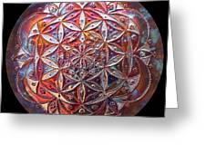 Flower Of Life Copper Lightmandala Greeting Card