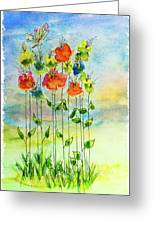 Flower Patch With Butterfly Greeting Card