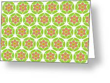 Flower Pattern In Circle Greeting Card