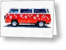 Flower Power Van Greeting Card