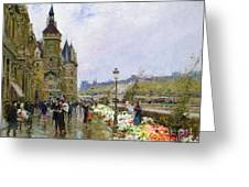 Flower Sellers By The Seine Greeting Card