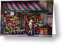 Flower Shop - Ny - Chelsea - Hudson Flower Shop  Greeting Card