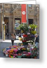 Flower Stand In Milan Greeting Card