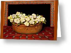 Flower Tub Rose Bay Greeting Card