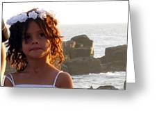 Flowergirl By The Sea Greeting Card