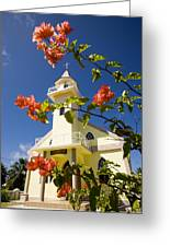 Flowers And Church On Takapoto Atoll Greeting Card