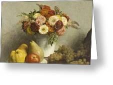 Flowers And Fruit 1865 Greeting Card