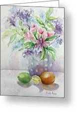 Flowers And Fruit Greeting Card by Bobbi Price