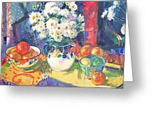 Flowers And Fruit In A Green Bowl Greeting Card