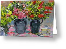 Flowers And Pitchers Greeting Card