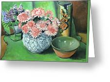 Flowers And Pottery Greeting Card