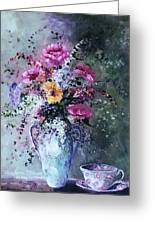 Flowers And Tea Greeting Card