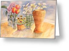 Flowers And Terra Cotta Greeting Card